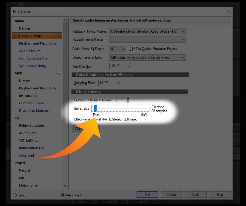 Optimizing Jamstik performance with SONAR on Windows 10